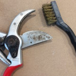 Garden pruner sharpening and cleaning