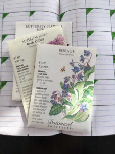 My pollinator seed packs; borage; alyssum; milkweed